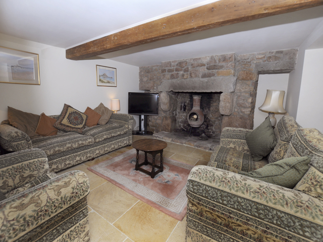Lounge with granite fireplace