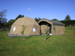 Outside view of the yurts