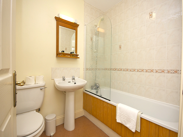 Bathroom with bath with shower over