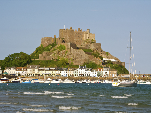 Mont Orgueil Castle is a short distance along the coast