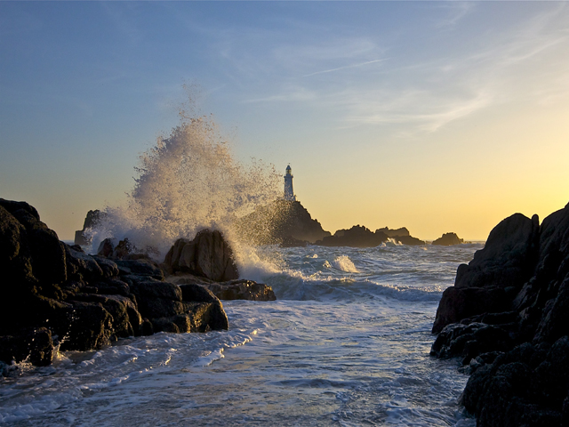 Corbiere Lighthouse at sunset