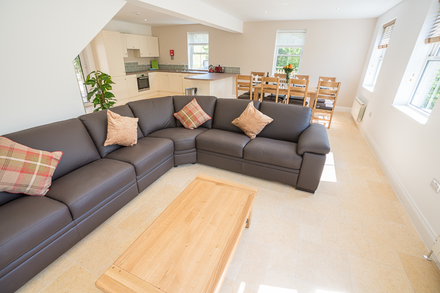 Spacious open plan lounge, dining and kitchen