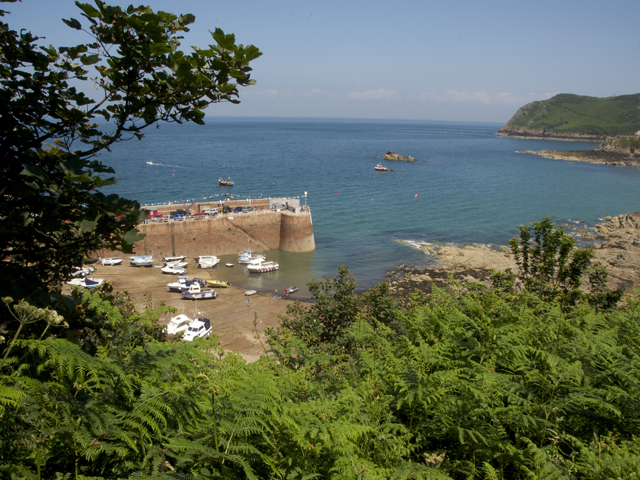 View of Bonne Nuit Bay from the north coast cliff path