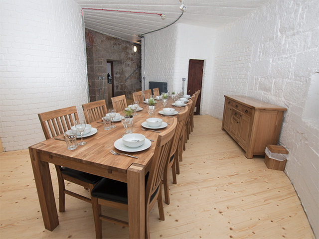 Spacious elegant dining room on the ground floor, stairs to first floor