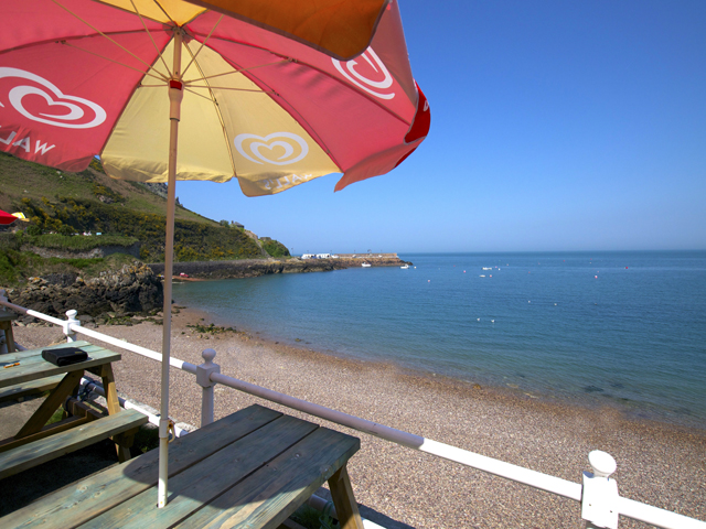 Enjoy the view from this waterside cafe at Bouley Bay