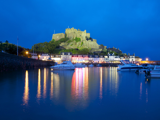 Mont Orgueil Castle at dusk