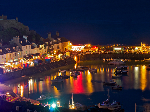 Night view of Gorey harbour