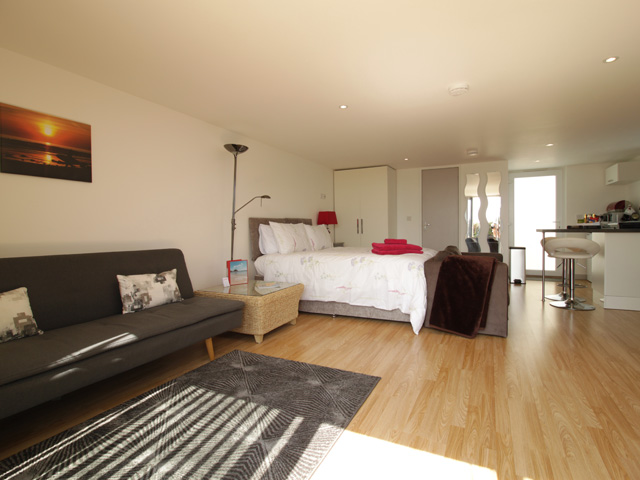 Open plan Studio with King Size bed and bedsettee