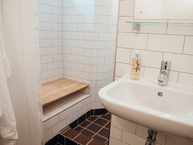 Shower room with WC and basin located on ground floor
