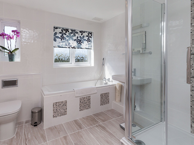 Bathroom with bath, shower, WC and basin