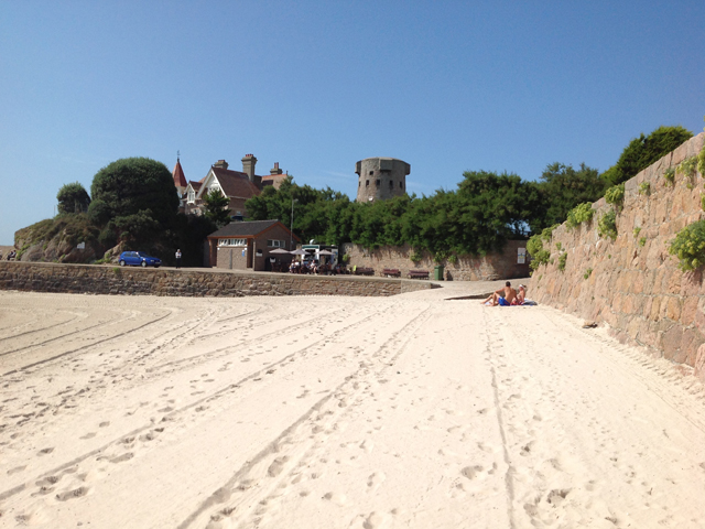 White sand on the beach at La Rocque on the south east coast
