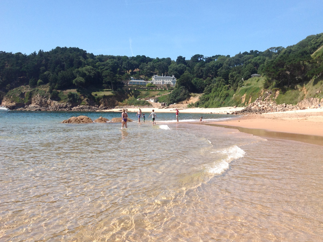 High tide at Portelet beach Jersey