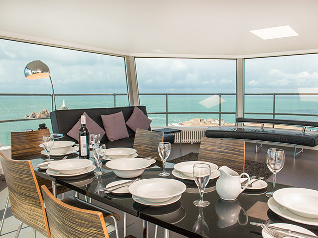 Dining with a very special view, Freedom Holidays, Jersey self catering