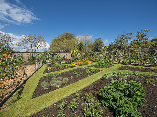 The beautiful walled garden at Samares Manor