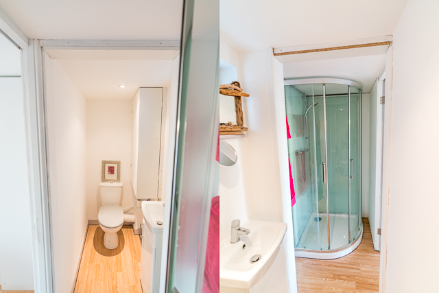 Narrow Shower room - with walk in shower, basin and toilet