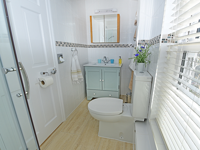 Shower room with shower, basin and toilet