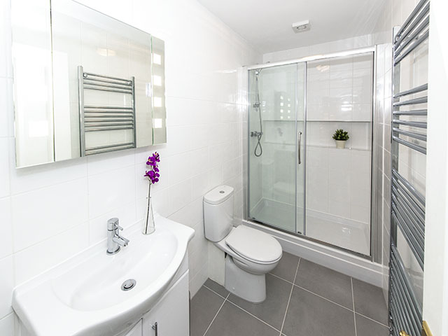 Shower room with shower, basin and toliet