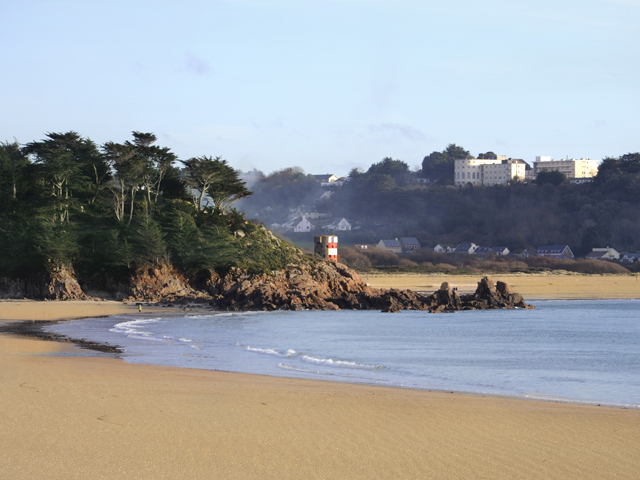 Looking back at Ouaisne from St Brelade's Bay