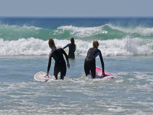 Surfing in St Ouens Bay