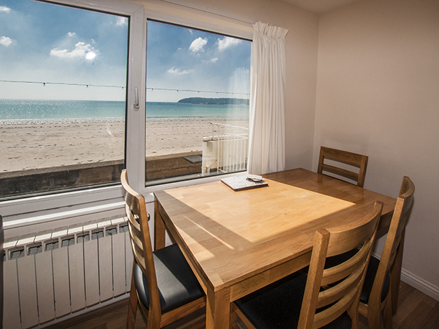 Sea view from dining area of open plan living room