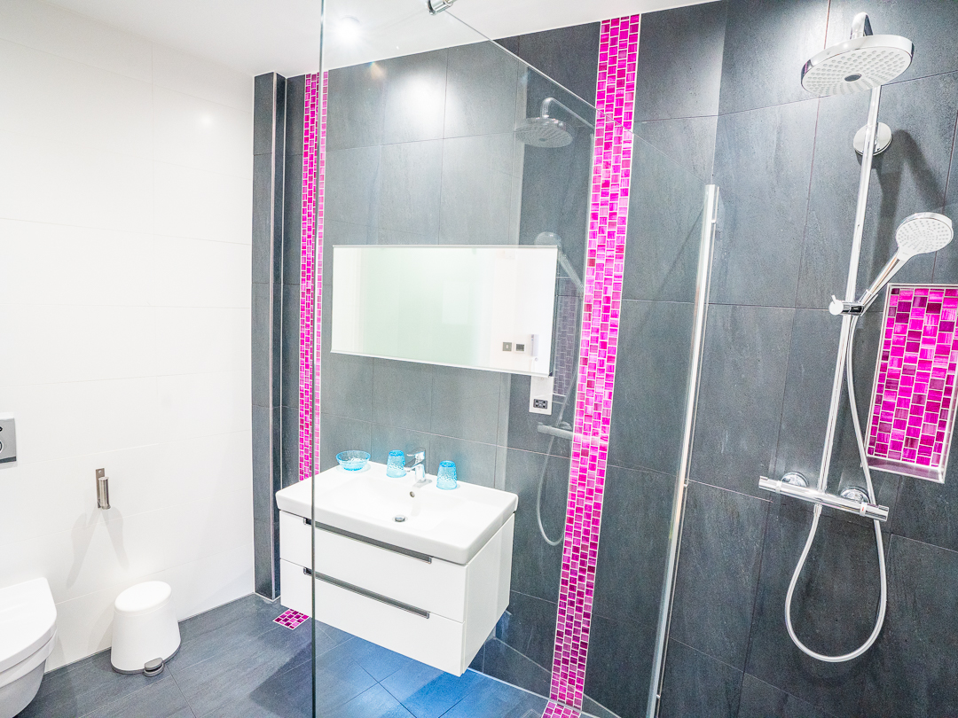 Shower room with sink and toilet