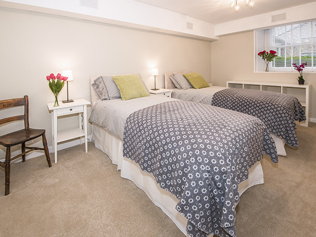 Second of two bedrooms with super king-sized double bed which can be made up as twin beds