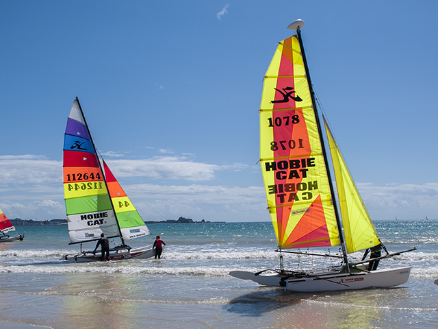 Hobie cats on the beach at St Aubin