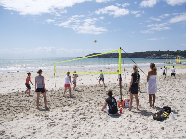 Volley ball on the sandy beach at St Aubin
